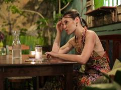 Sad, lonely woman wating for her date in cafe NTSC Stock Footage