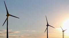Wind generators at sunset Stock Footage