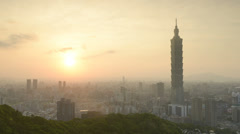 taipei city in sunset.time-lapse - stock footage
