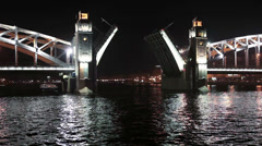 The Bolsheokhtinsky bascule bridge review from water, Saint-Petersburg Stock Footage