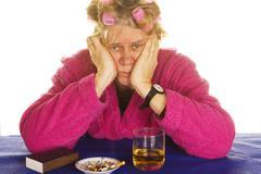 depressive housewife - stock photo