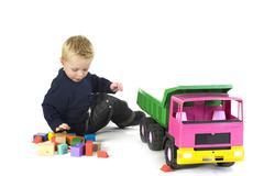 boy with big car - stock photo