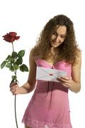 loveletter with red rose - stock photo