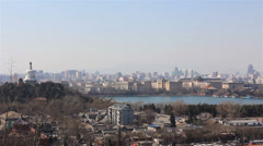 Overlooking Beijing,from Jingshan Park Stock Footage