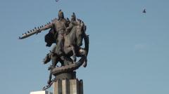 Manas statue in Bishkek, birds are taking a rest Stock Footage