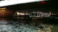 Stock Video Footage of Tour boat passing throuth the span of Trinity bascule bridge. Saint-Petersburg