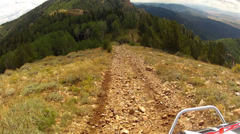 Recreation vehicle RZR drive down high mountain trail HD 0002 Stock Footage