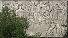 Soviet 'art' on apartment buildings in Bishkek, Kyrgyzstan Stock Footage