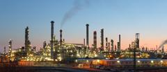 Oil refinery at twilight - factory Stock Photos