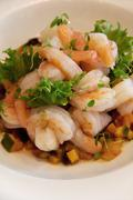 Asian ratatouille with chill prawns - stock photo