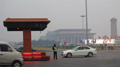 cars running on Chang'an Avenue,beside Tiananmen Square - stock footage