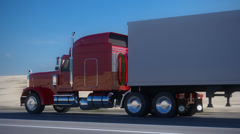 18 wheel Truck delivery cargo transportation highway freight logistics lorry Stock Footage