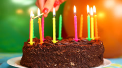 Candles on the birthday cake episode 1 - stock footage