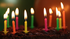 Candles on the birthday cake episode 5 - stock footage