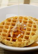Stock Photo of waffles with  maple syrup