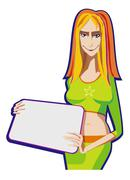Young girl with a board Stock Illustration