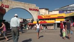 'Osh bazaar' entrance in Bishkek, Kyrgyzstan Stock Footage