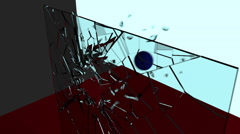 Ball through glass pane slow-mo 1080 Stock Footage