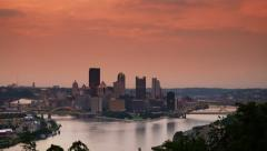 4K Ultra HD Sunrise Timelapse Over Pittsburgh 3576 Stock Footage