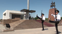 Bishkek, Kyrgyzstan, changing of the guards in former Soviet Union Republic Stock Footage