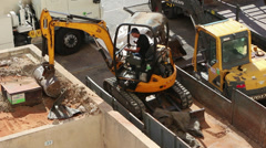 Cleaning construction waste Stock Footage