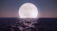 Moon over the ocean. Night sky, beauty fantasy astrology astronomy. - stock footage