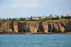 Cliffs baleeira, albufeira in the algarve Stock Photos
