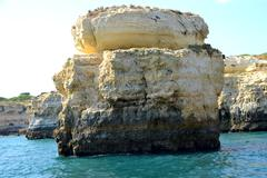 Cliffs yellow albufeira in the algarve Stock Photos