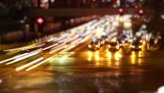 Timelapse of city traffic at night 04 - stock footage