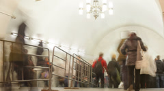 Subway station crowd timelapse Stock Footage