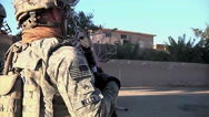 Stock Video Footage of Medium close up United States Army Soldier Patrolling Streets of Baghdad