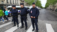 French policemen on guard Paris France Stock Footage