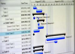 Close up shot of a detailed gantt chart that illustrates a project Stock Photos