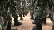 Stock Video Footage of FOREST RANGERS MILITARY FORMATION STAND AT ATTENTION