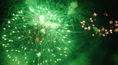 HD - Fireworks. Green balls - stock footage