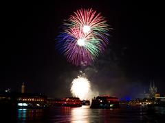 Colorful firework over cologne Stock Photos