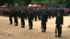 FOREST RANGERS MILITARY FORMATION STAND AT ATTENTION Stock Footage
