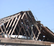 Flying Destroyed house Stock Footage