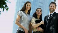 Portrait view of three young ambitious people - stock footage