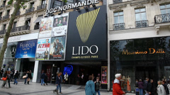 LIDO Night Club  along Avenue Champs Elysees Stock Footage