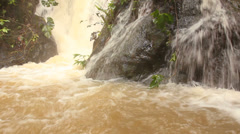 Rainforest river in Western Ecuador swollen after heavy rain  Stock Footage