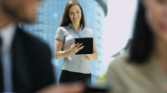 Multi Ethnic Business People Wireless Hot Spot Outdoors Stock Footage