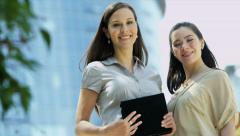 Portrait view young enterprising businesswomen Stock Footage