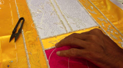 Thai embroidery. - stock footage