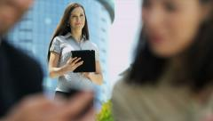 Caucasian Businesswoman Smart Phone Outdoors City Stock Footage