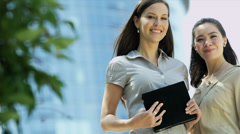 Portrait view young enterprising businesswomen - stock footage