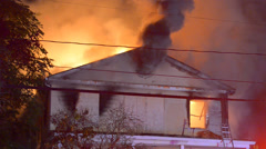 House fire heavy smoke Stock Footage