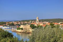 old adriatic town of krk waterfront - stock photo