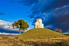 Chapel on green hill, nin, dalmatia Stock Photos