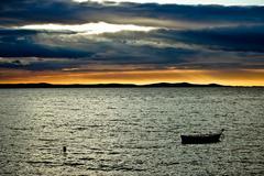 Stock Photo of beautiful sunset above adriatic sea in dalmatia